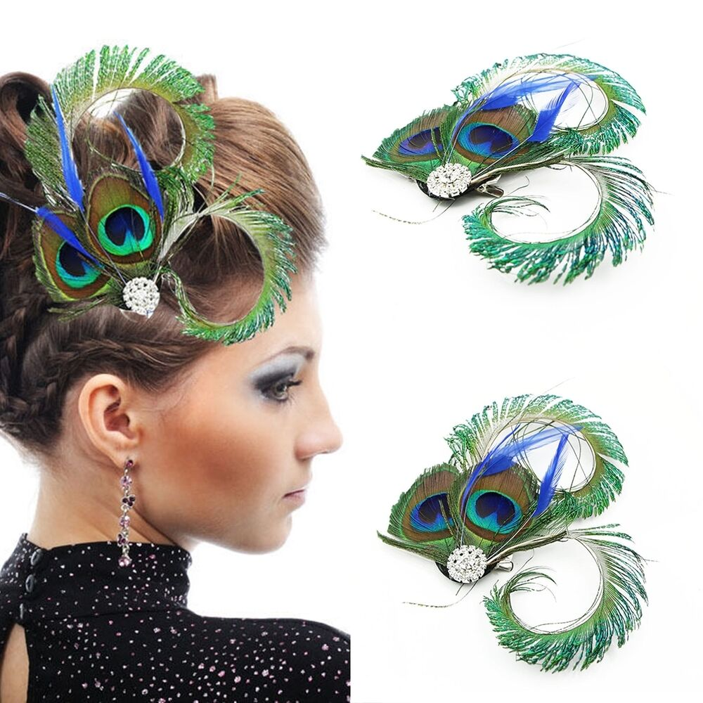 Vintage Hair Accessories Wedding Gift Peacock Feather