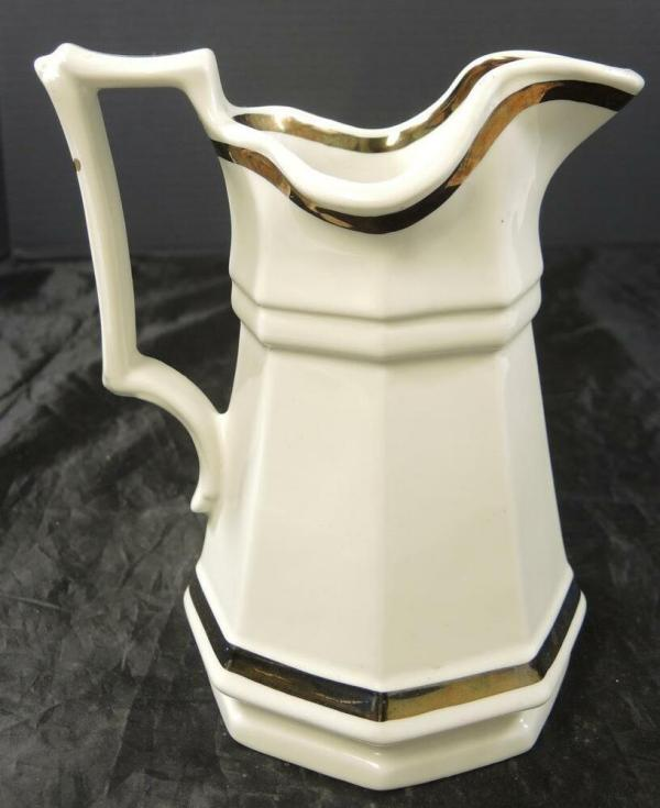 Vintage Red Cliff Ironstone Pitcher * Copper Luster Bands ...