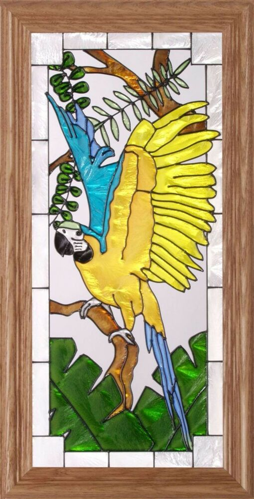 22x11 MACAW Parrot Blue Amp Gold Stained Art Glass Framed