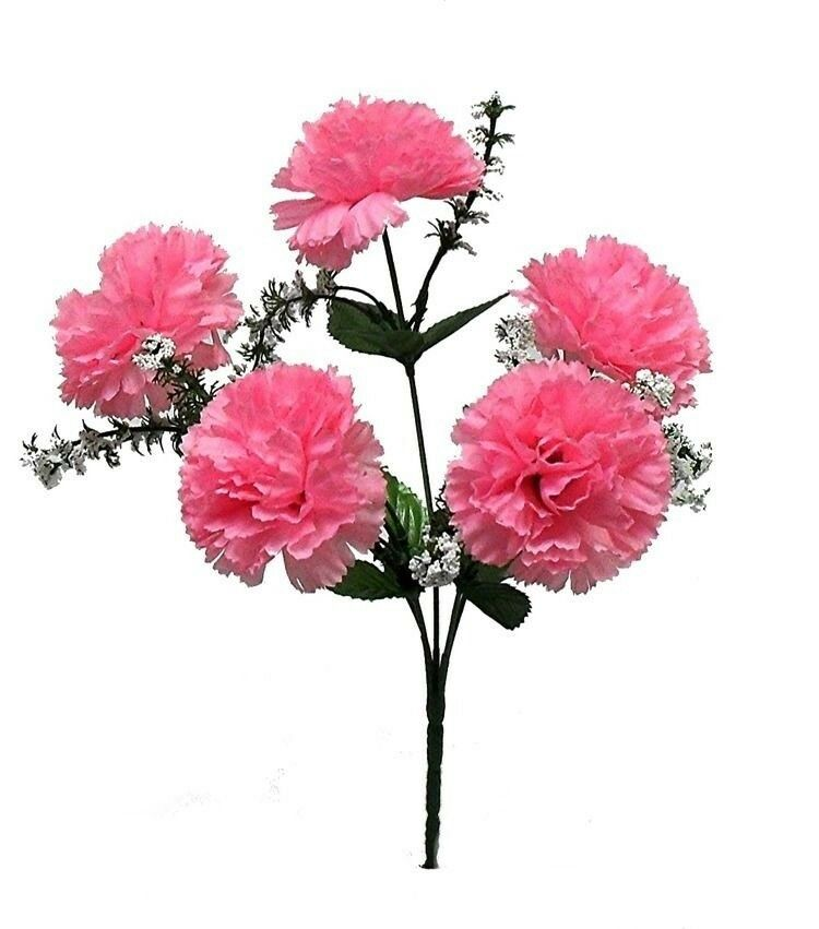 60 PINK Carnations Wedding Bridal Bouquet Silk Flowers