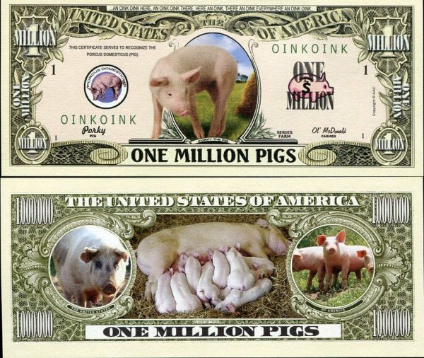 UNITED STATES USA DOLLAR BILL PIG LOVER ONE MILLION PIGS ...