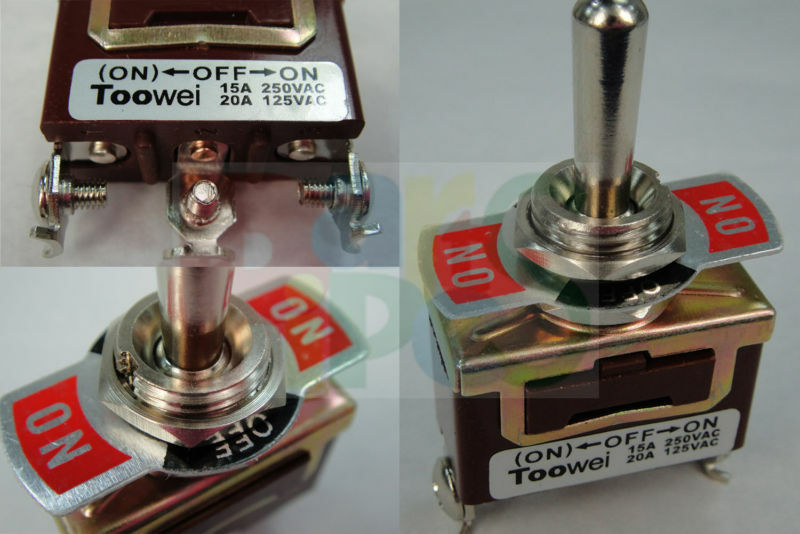 2pcs 110v 240v 15a 20a On Off On Lock Momentary Metal