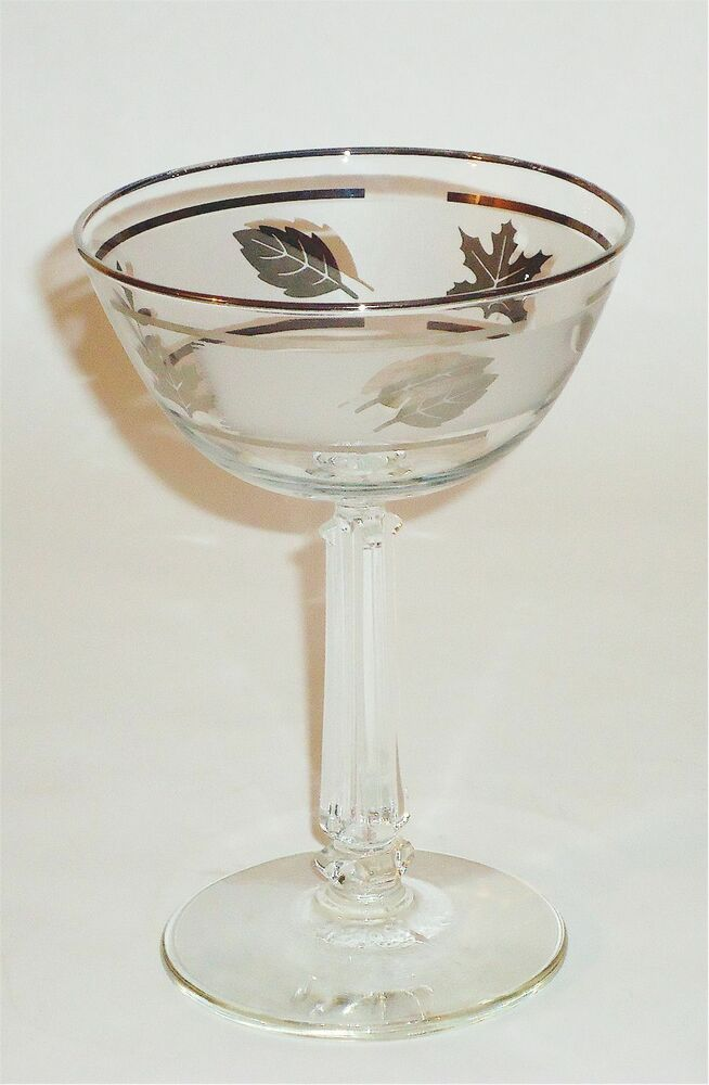 7 VINTAGE SILVER LEAF LIBBEY CLEAR FROSTED GLASS SHERBET