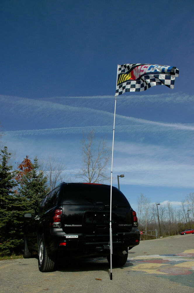 14 Ft Portable Telescoping Flagpole Tailgating Flag Pole To Go With Hitch Mount EBay