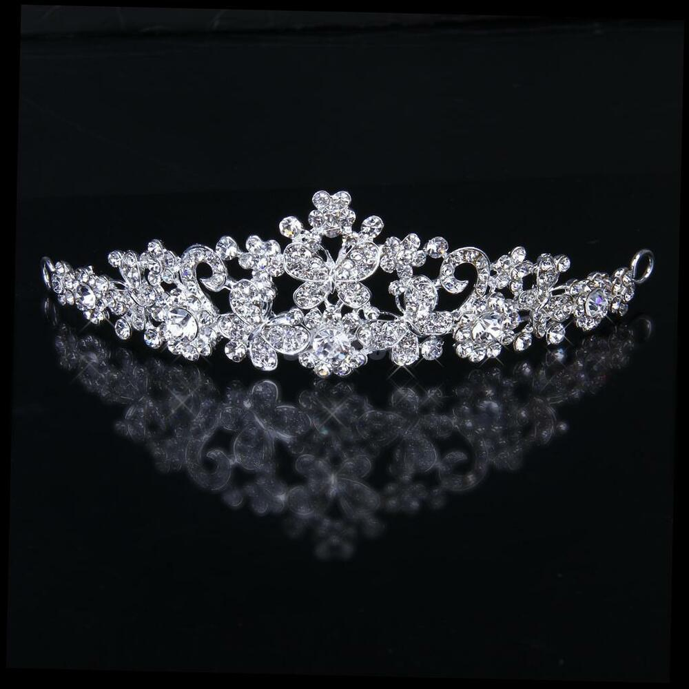 Wedding Bridal Crystal Diamante Butterfly Flower Crown