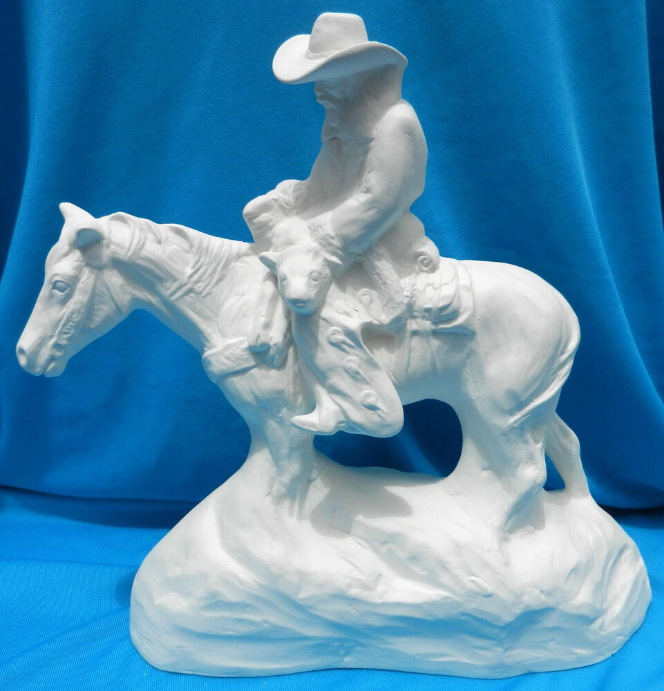 COWBOY WITH CALF ON HORSE CERAMIC BISQUE WESTERN U PAINT