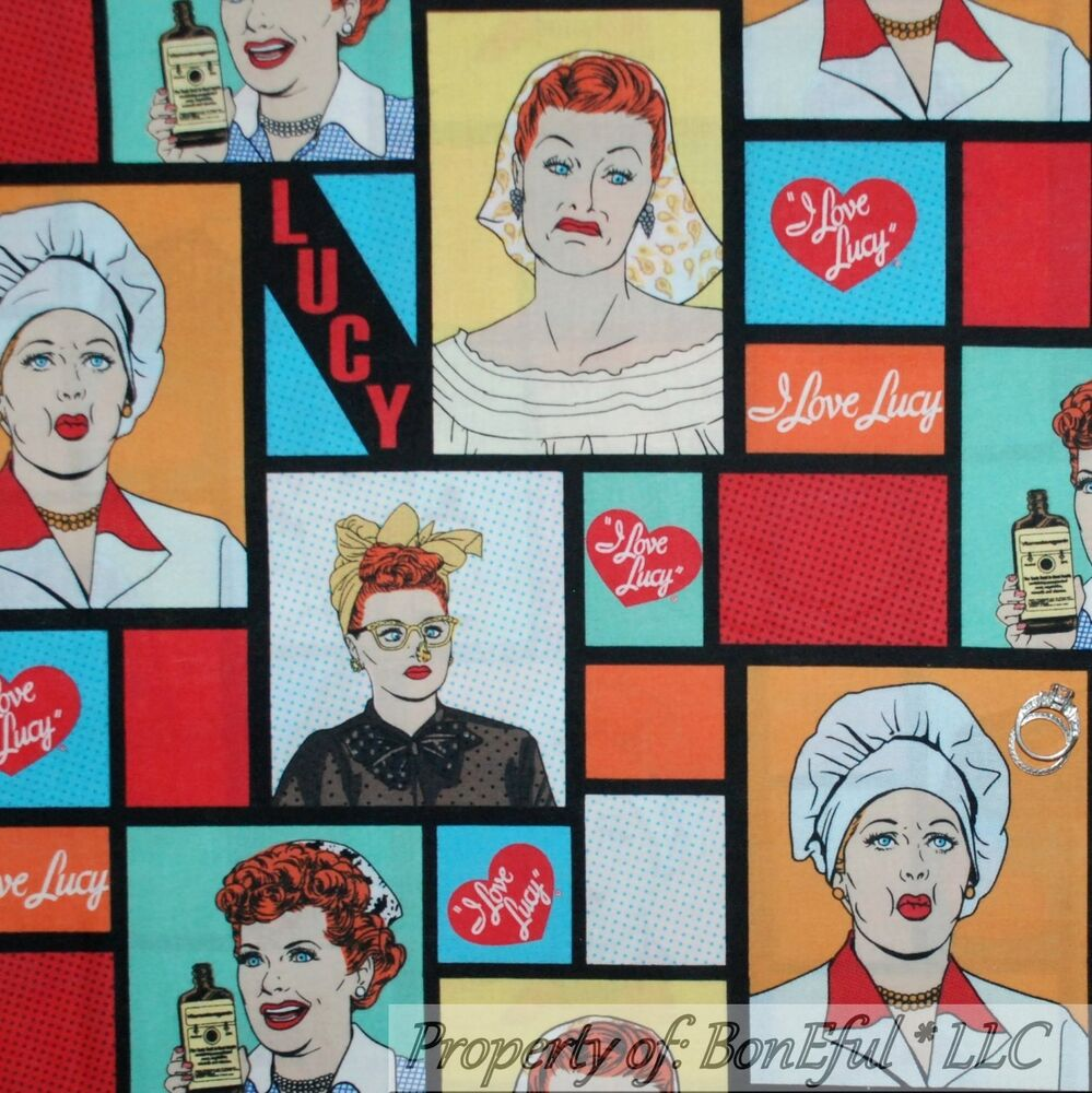 BonEful Fabric FQ Cotton Quilt I LOVE LUCY TV Antique