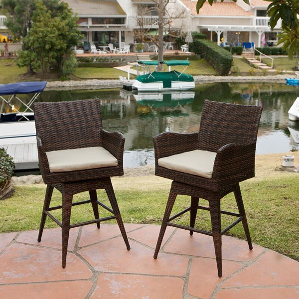outdoor patio swivel bar stools Set of 4 Outdoor Patio Furniture Brown PE Wicker Swivel