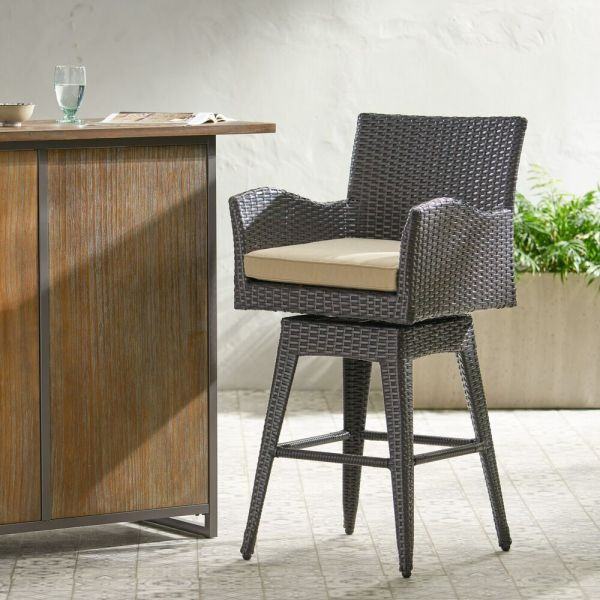 outdoor patio bar sets furniture Outdoor Patio Furniture All-Weather Brown PE Wicker Swivel