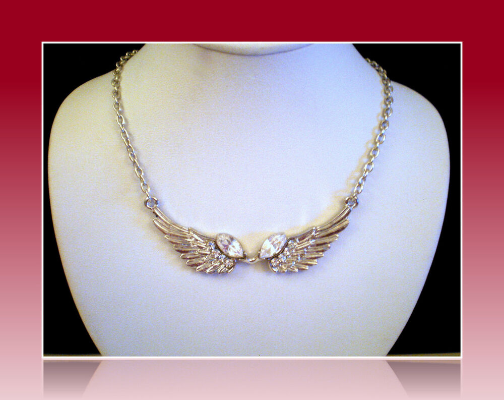 BIRTHDAY QUINCEANERA SWEET 16 SILVER ANGEL WINGS NECKLACE