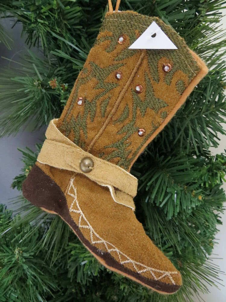 Cowboy Boot Christmas Ornament Mini Stocking Money Gift