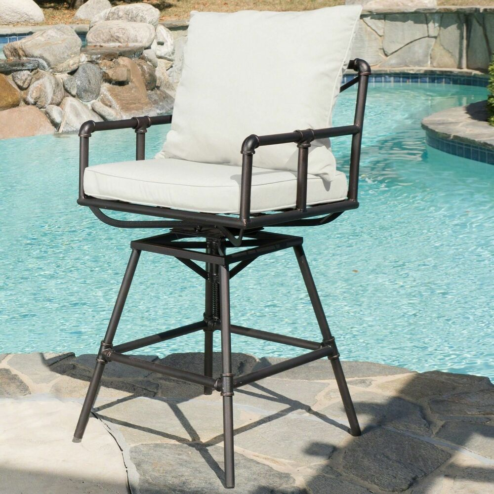Outdoor Adjustable Black Copper Pipe Barstool With White Cushion EBay