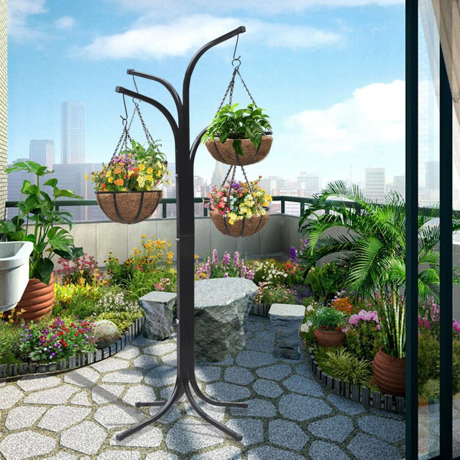 4 ARM TREE CASCADE HANGING BASKET PATIO STAND GARDEN PLANT ... on Hanging Stand For Plants  id=35999