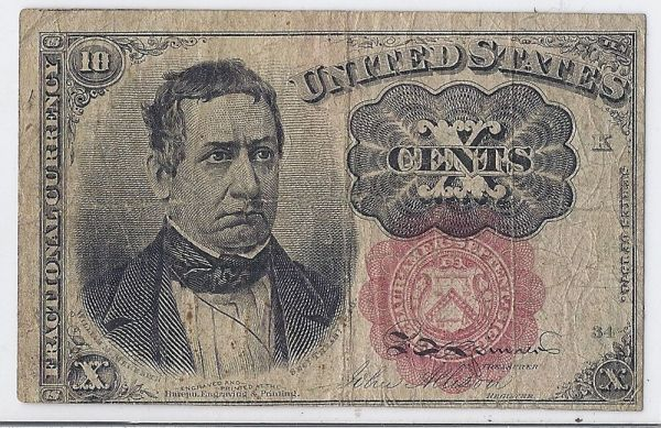 1874 US Civil War Fractional Currency, 10 Cents - 5th ...