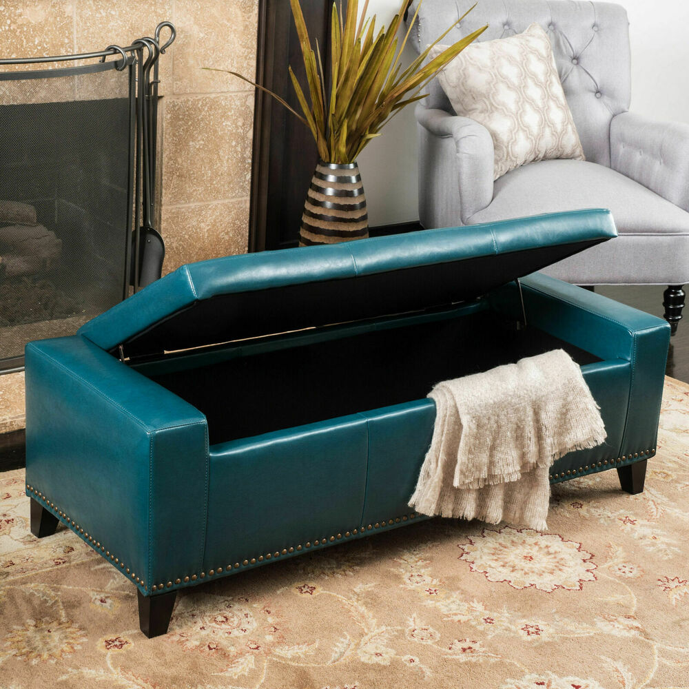 Contemporary Studded Teal Leather Storage Ottoman Bench Ebay
