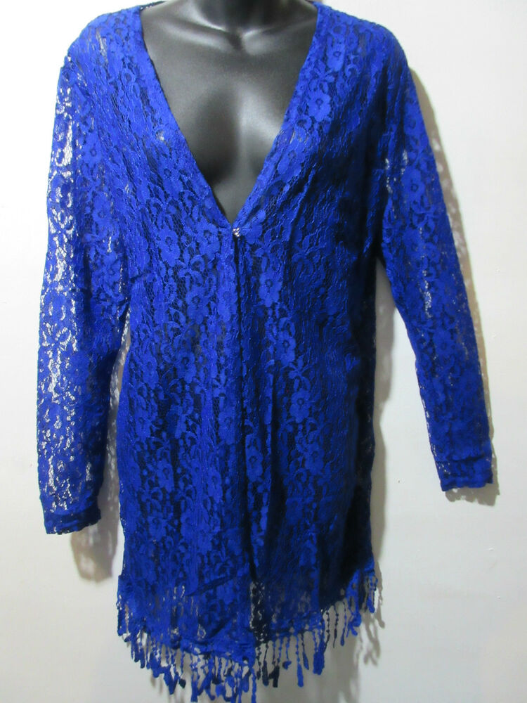 Long Lace Vest Fits L XL 1X Bolero Blue Fringe Stretchy Sheer Jacket NWT G007 EBay