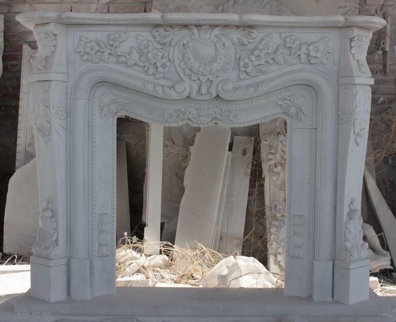Intricate White Marble Fireplace Mantel French Design