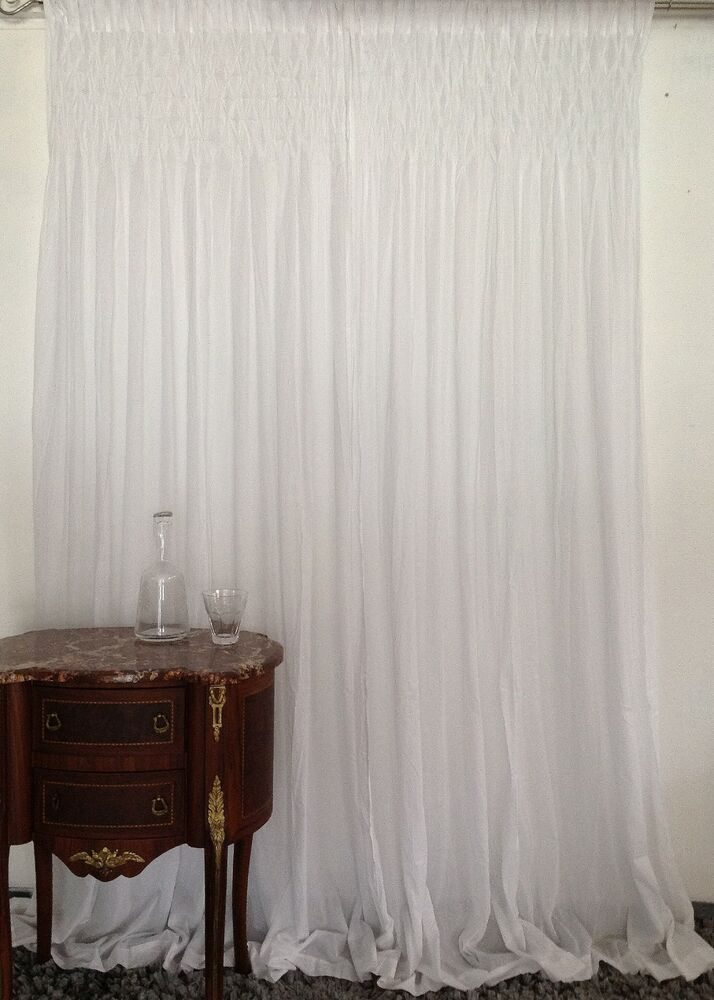 French Country Shabby Chic Curtains Smocked Top Rod Pocket White 2x110x240cmLong EBay