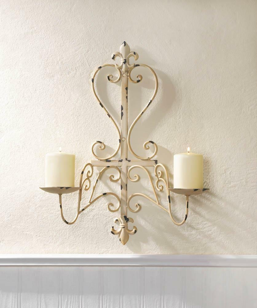 antiqued white ivory shabby distressed iron candelabra ... on Metal Candle Holders For Wall id=22154