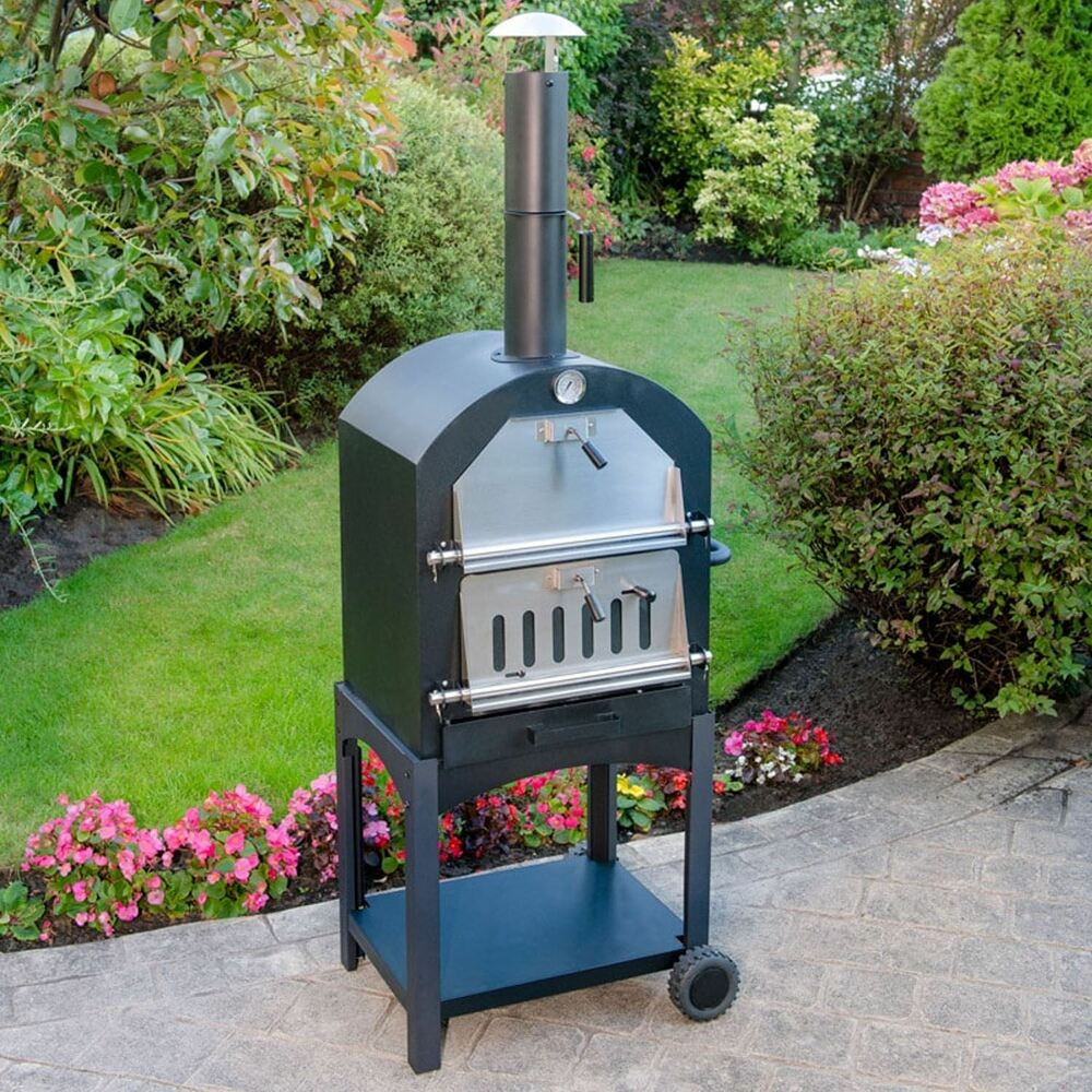 Multi-Function Portable Outdoor Garden Steel Barbecue Wood ... on Outdoor Patio With Pizza Oven  id=77785