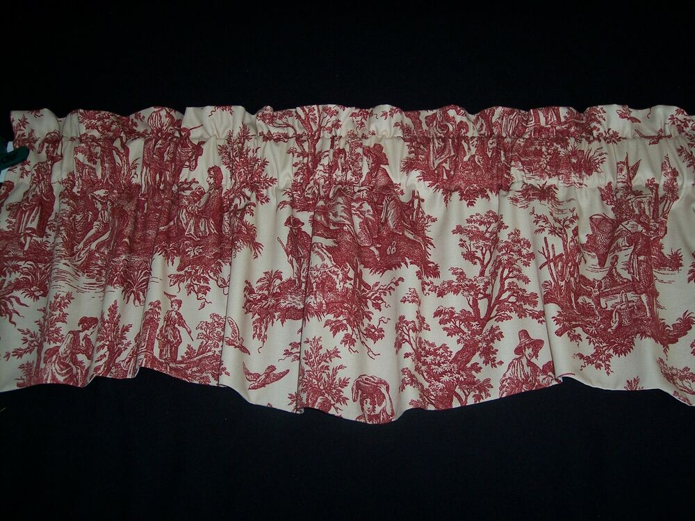 LKRED ON CREAMWAVERLY Country Life Toile Scalloped Lined Valance Curtains EBay