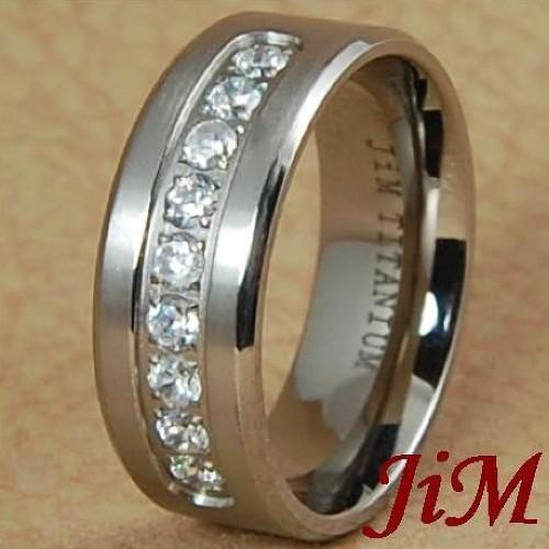 8MM Titanium Mens Ring Diamond Wedding Band Bridal Jewelry