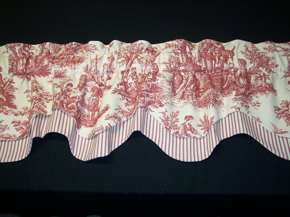 REDCREAMWAVERLY Country Life ToileStriped Db Thick Scalloped Valance Curtains EBay