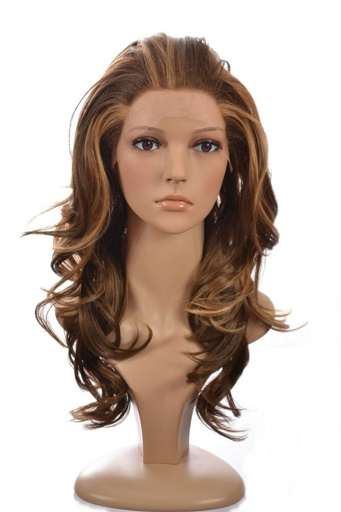 Human Hair Blend Lace Front Wig Long Wavy Blonde Lace