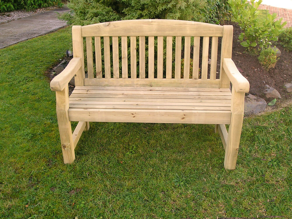 SOLID TREATED WOOD THREE SEATER 5' GARDEN PARK MEMORIAL