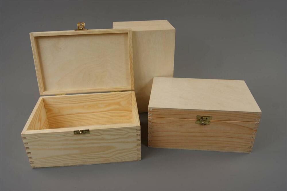 PLAIN WOOD WOODEN BOX HINGED JEWELLERY STORAGE KEEPSAKE