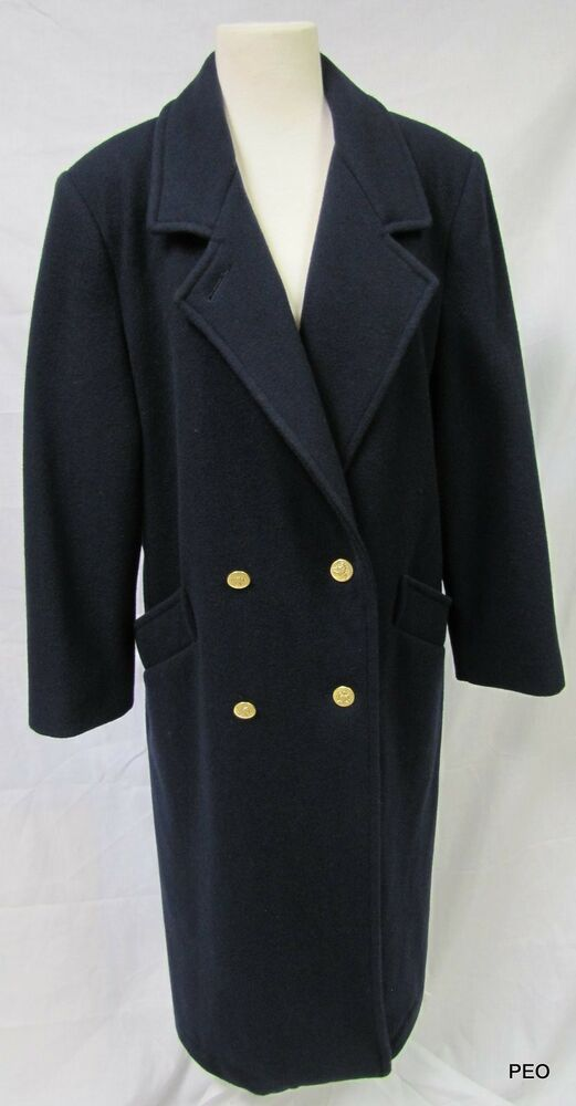 Forecaster of Boston Womens Navy Blue Long Wool Coat ...