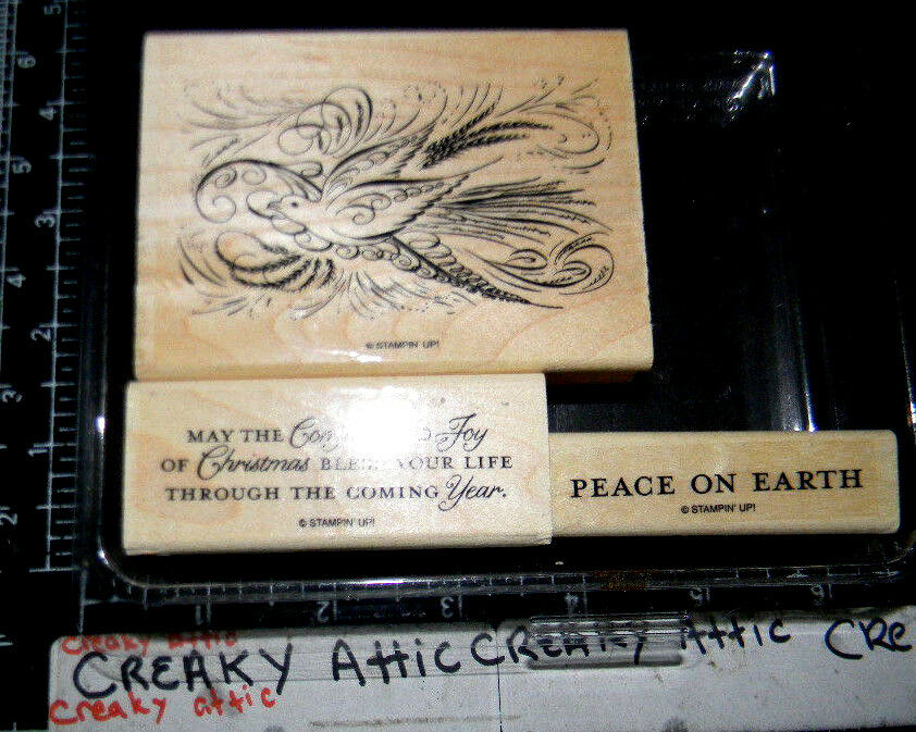 STAMPIN UP COMFORT AND JOY 3 RUBBER STAMPS DOVE PEACE ON EARTH EBay