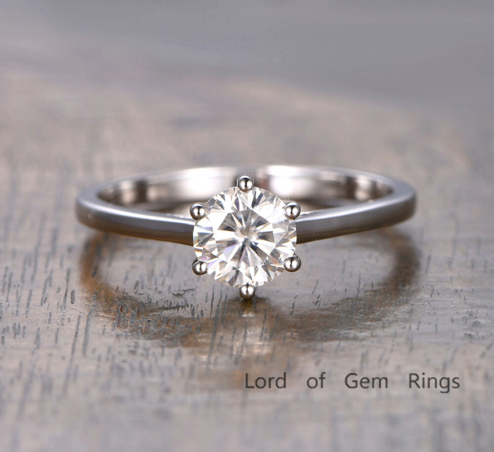 65mm Moissanite Engagement Ring 14K White Gold Solitaire