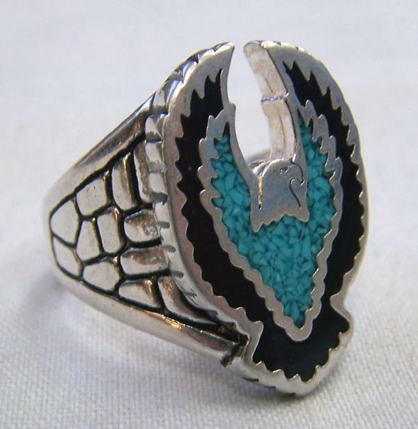 EAGLE TURQUOISE WINGS UP SILVER BIKER RING BR92R Men