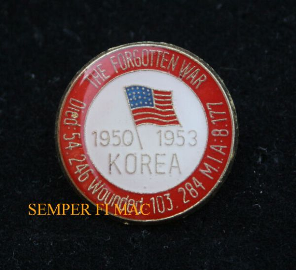 KOREA WAR 54246 KIA HAT LAPEL PIN UP US ARMY MARINES NAVY ...
