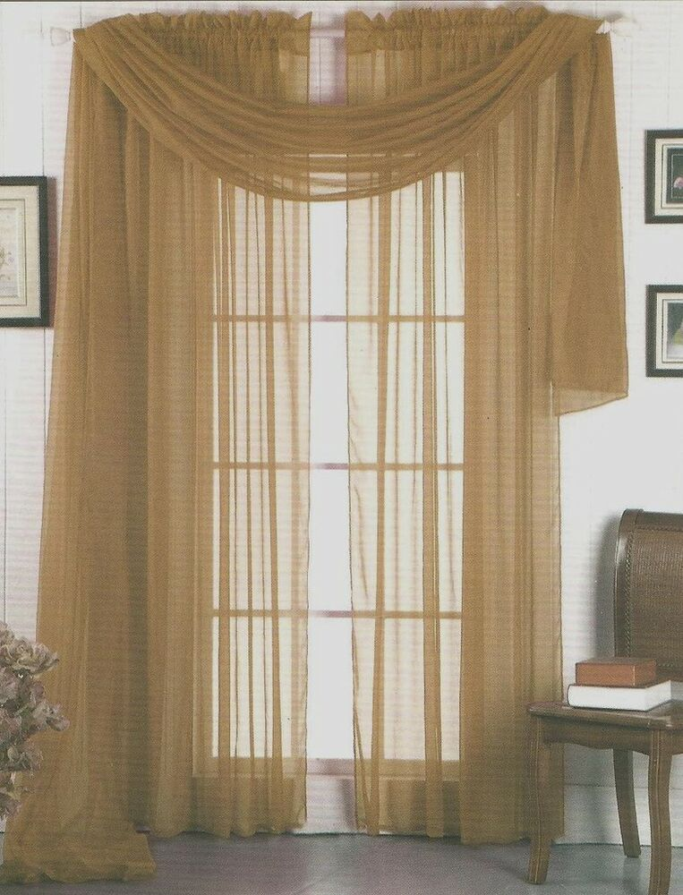 SHEER VOILE 216 WINDOW SCARF TAUPE TAN EBay