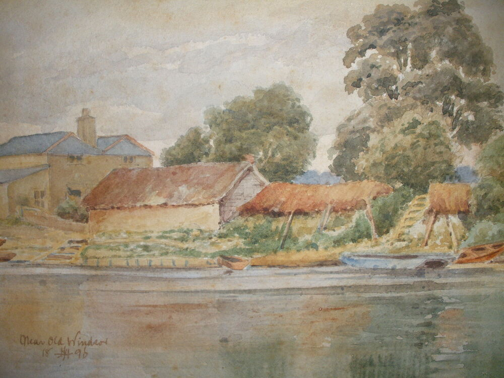 ANTIQUE 19t BRITISH WATERCOLOR NEAR WINDSOR LANDSCAPE HOUSES RIVER BOAT PAINTING EBay