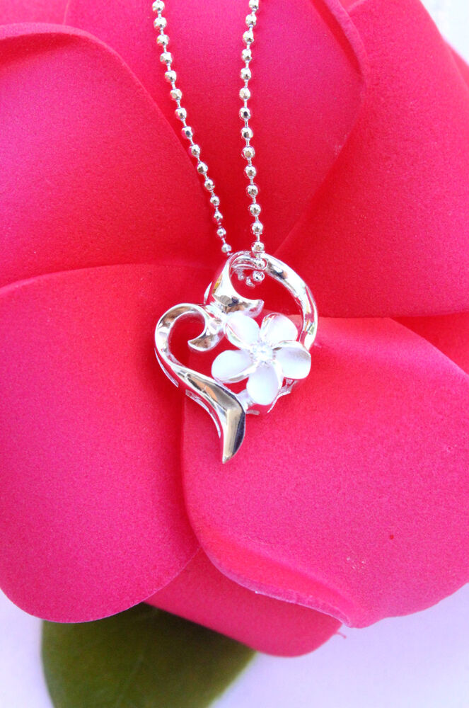 Hawaiian 925 Sterling Silver Jewelry Plumeria Heart Pendant Necklace SP73401 EBay