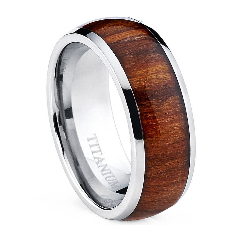 Oliveti Mens Dome Titanium Ring With Real Santos Rosewood