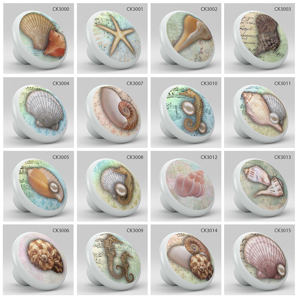 Nautical Coastal Style Ocean Sea Shells Pearl Ceramic Knob