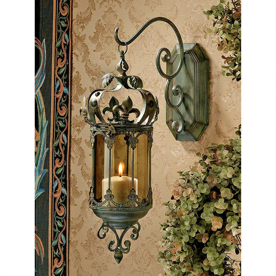 French Fleur De Lis Hanging Metal Scrollwork Wall Pendant ... on Wall Mounted Candle Holder id=73429