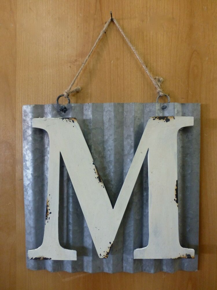 10 CORRUGATED INDUSTRIAL METAL SIGN LETTER M WHITE