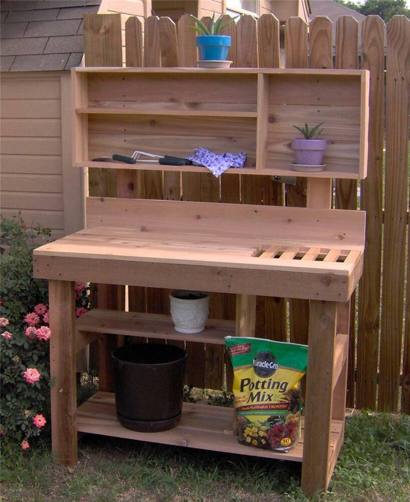 New 6 Ft Large Cedar Potting Bench Plant Gardening Station