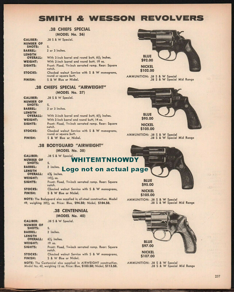 1973 SMITH & WESSON Chief's Special 36 37 Bodyguard 38 ...