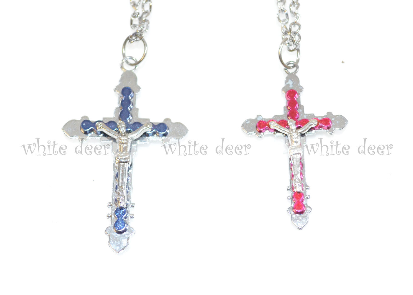 1 Pair His And Her Cross Pendant Stainless Steel Necklace