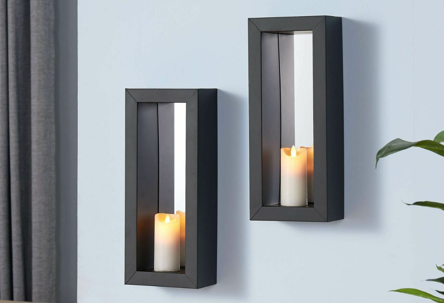 2 Mirror Candle Wall Sconce Holder Set Metal Pair Decor ... on Wall Sconces Candle Holders id=99122