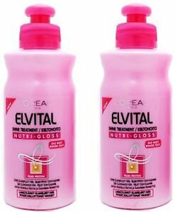 2 x l oreal loreal elvital nutri gloss leave in hair shine treatment conditioner ebay