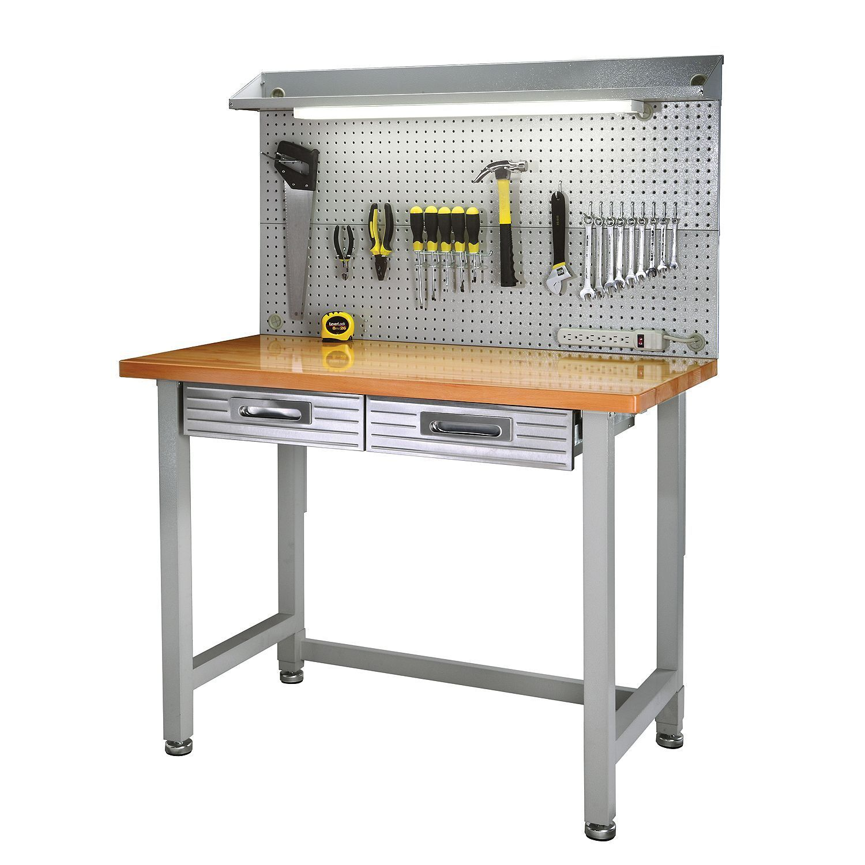 Heavy Duty Lighted Workbench Wood Hardwood Top Tool Box