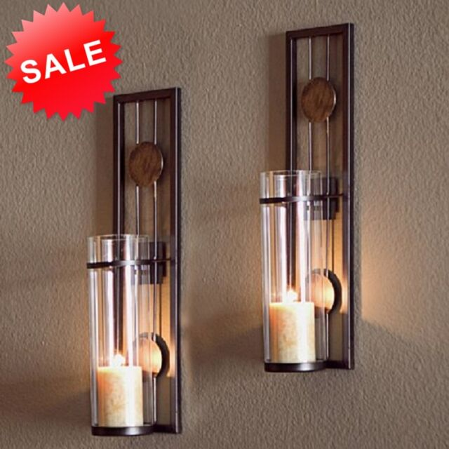 Candle Wall Sconce Holder Metal Set 2 Glass Pair Decor ... on Wall Sconce Lighting Decor id=98094