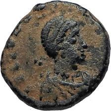 EUDOXIA Arcadius Wife 400AD Authentic Ancient Roman Coin GOD's HAND CROSS i67524